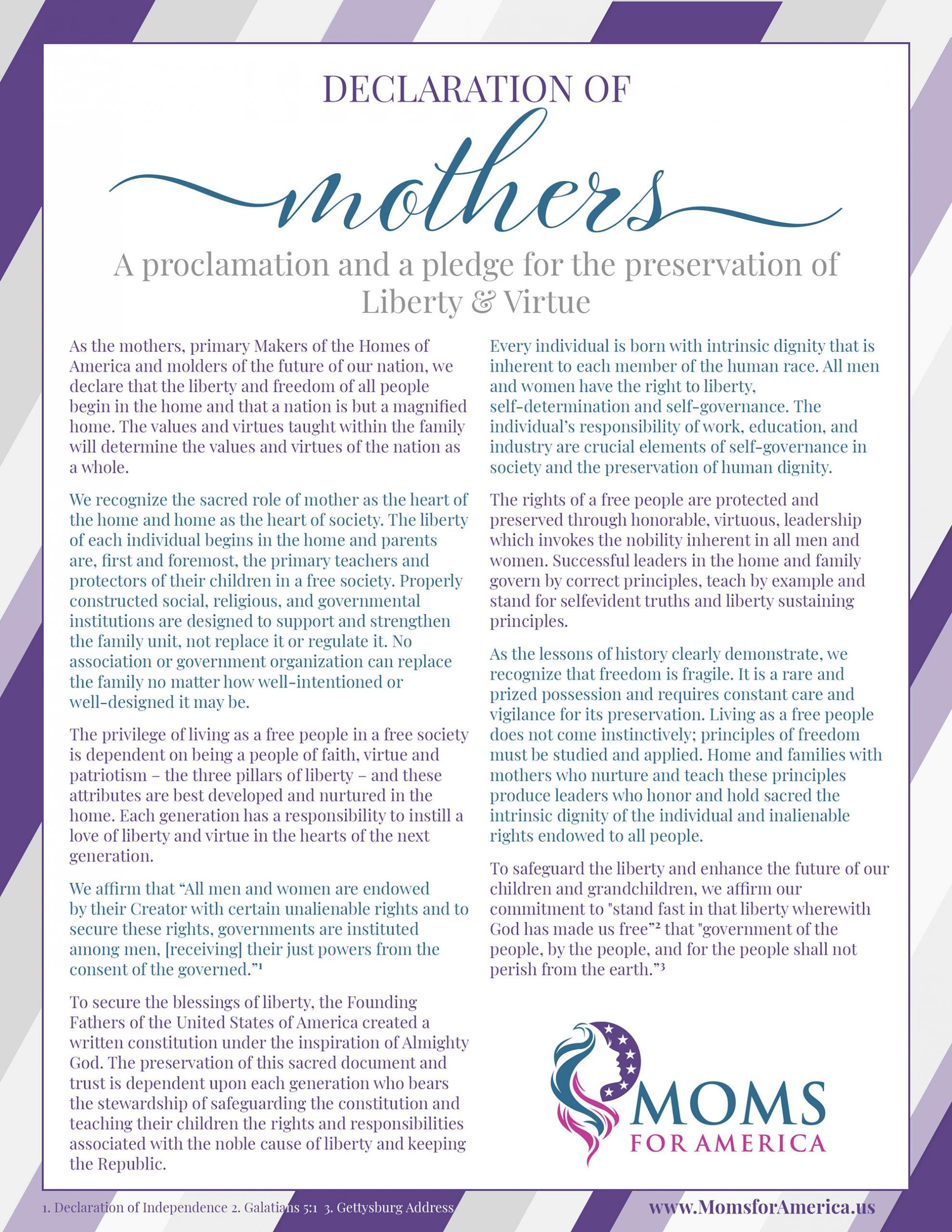 Declarations of Mothers - Pledge - Moms for America